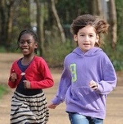 Two running girls